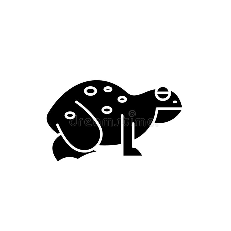 Frog black icon, vector sign on isolated background. Frog concept symbol, illustration stock illustration