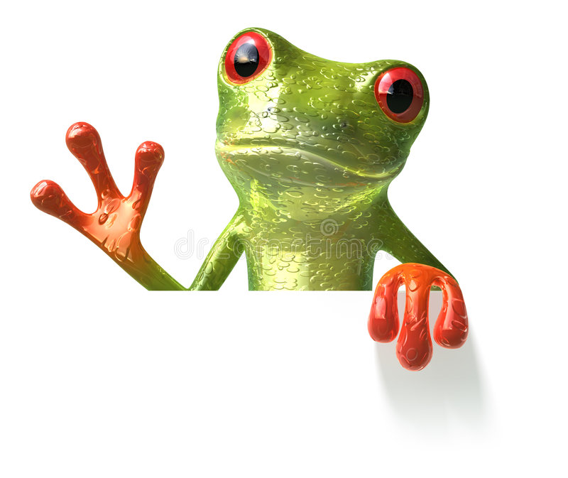 Frog with a blank sign. 3d generated picture vector illustration