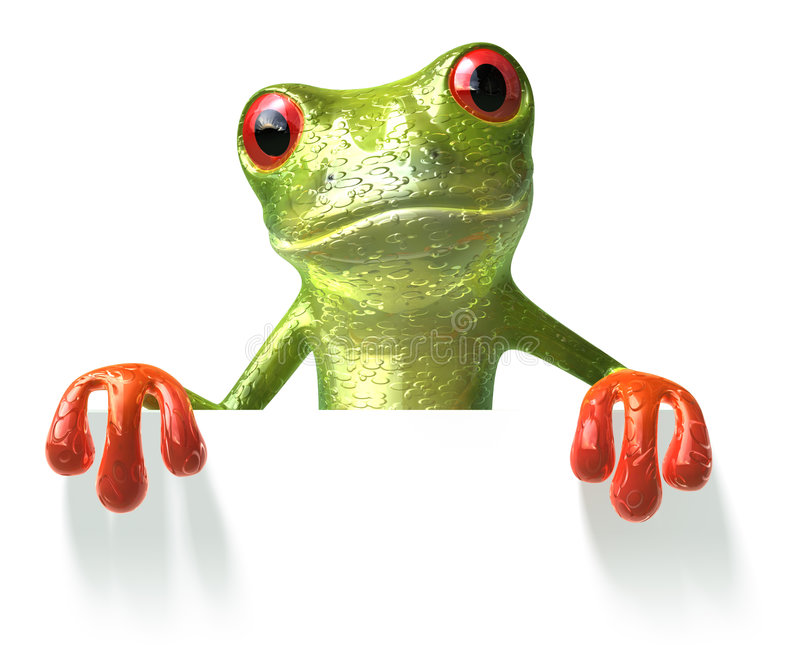Frog with a blank sign. 3d generated picture stock illustration