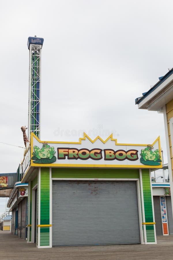 Frog Bog Boardwalk Game. SEASIDE HEIGHTS, NEW JERSEY - March 21, 2017: The Frog Bog boardwalk game is closed for the season stock images