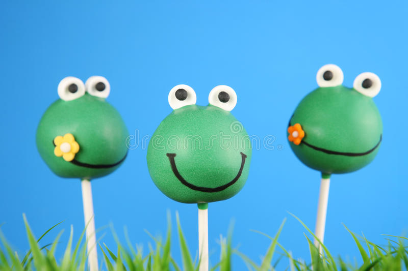 Frog cake pops royalty free stock photo