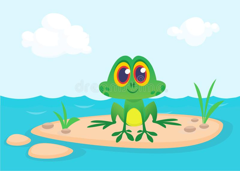Frog Cartoon Character sitting on the ground in the middle of river or pond or lake background. Colorful vector illustration stock illustration