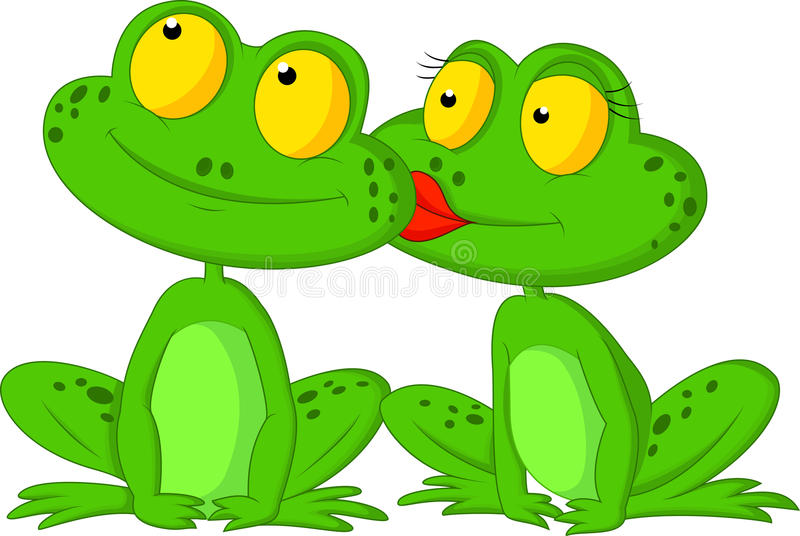 Frog cartoon kissing royalty free illustration