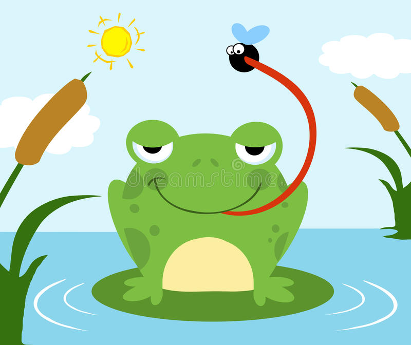 Frog catching fly royalty free illustration