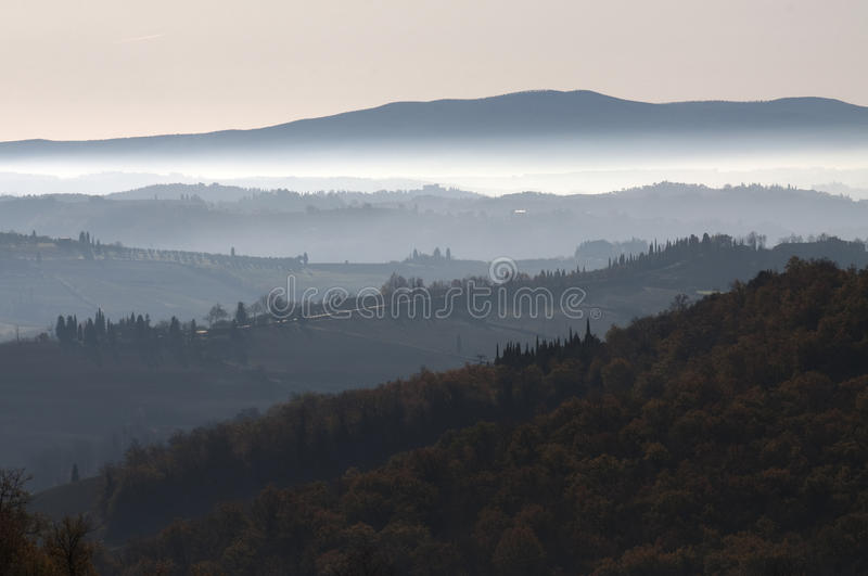 Tuscany landscape at dawn stock photos