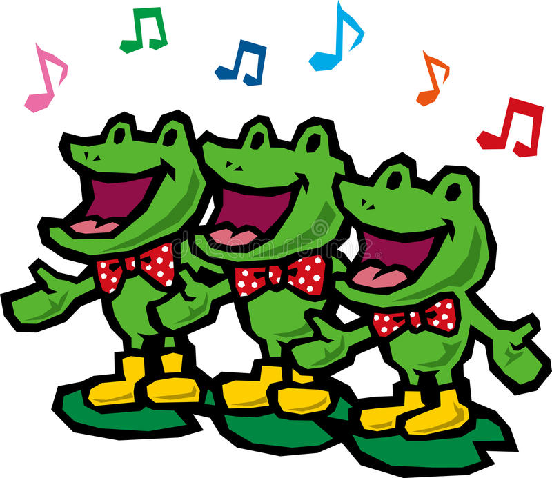 Frog chorus. Chorus of frogs that note is studded stock illustration