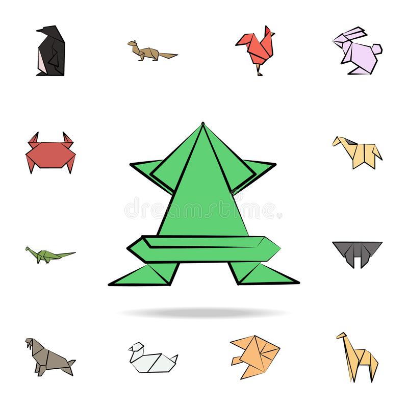 Frog colored origami icon. Detailed set of origami animal in hand drawn style icons. Premium graphic design. One of the collection. Icons for websites, web stock illustration