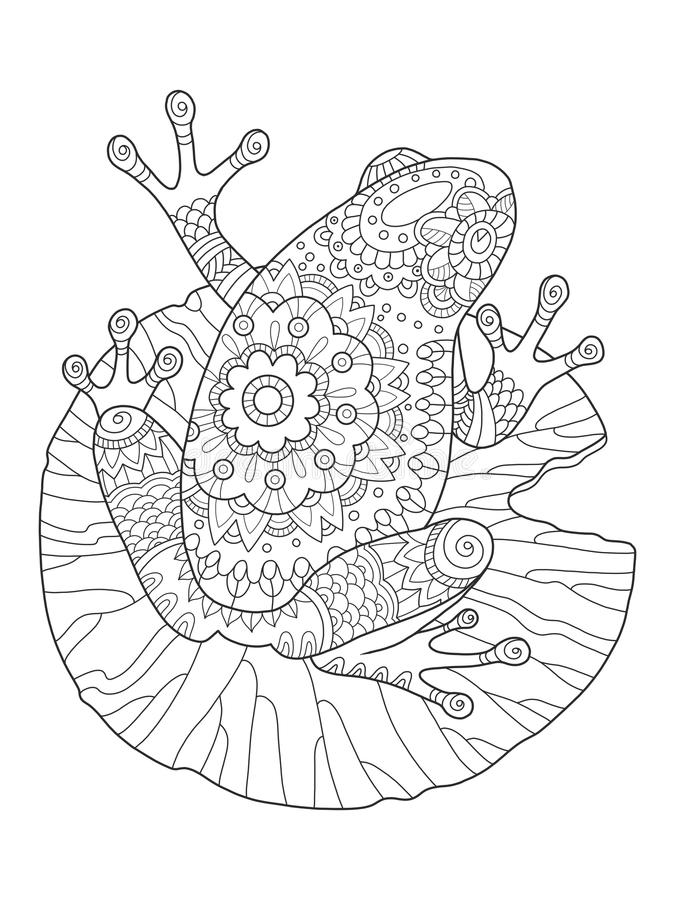 Frog Coloring Book Vector Illustration Stock Vector - Illustration ...