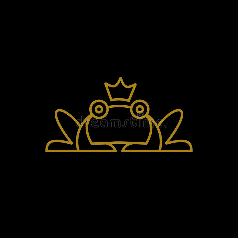 Frog with crown gold line logo icon designs vector royalty free illustration