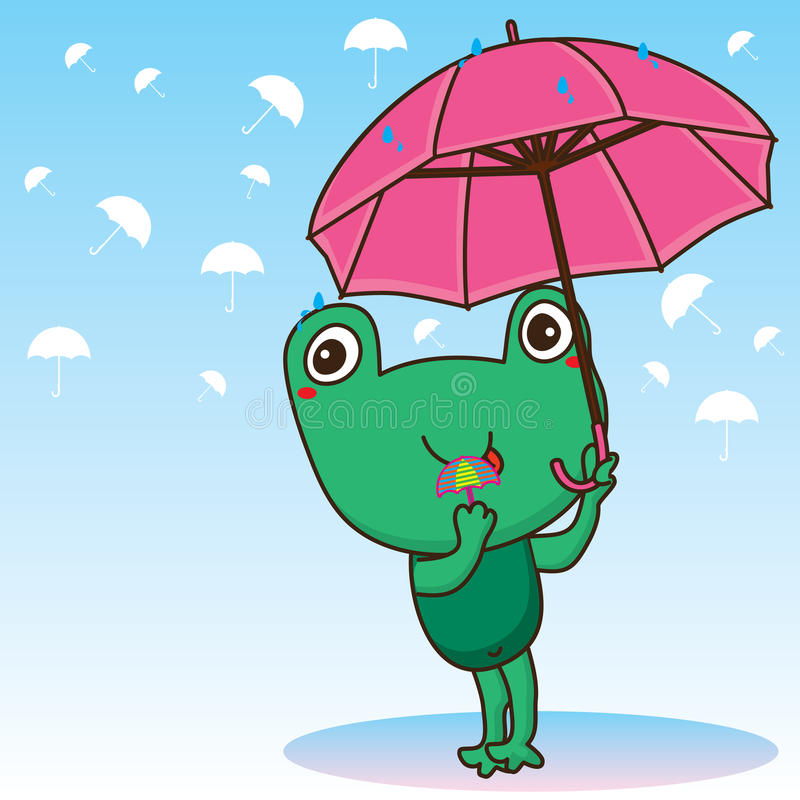 Frog cute umbrella. Illustration cute frog holding umbrella silhouette umbrella background light blue color card frog like sugar umbrella stock illustration