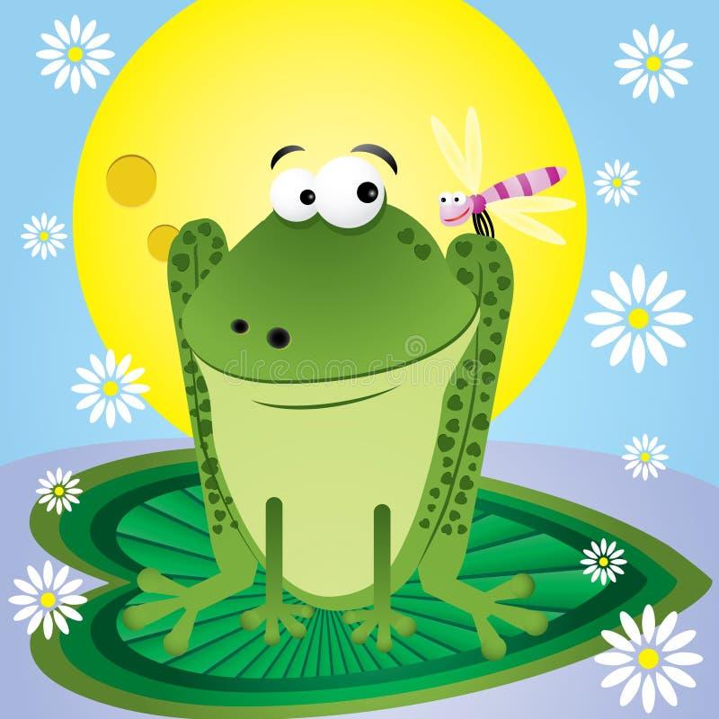 Веселая картинка с солнцем и лягушонком, почтовая открытка
