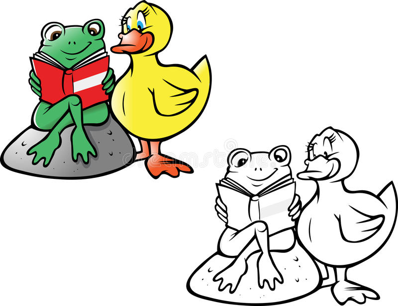 Frog and duck reading coloring book royalty free illustration