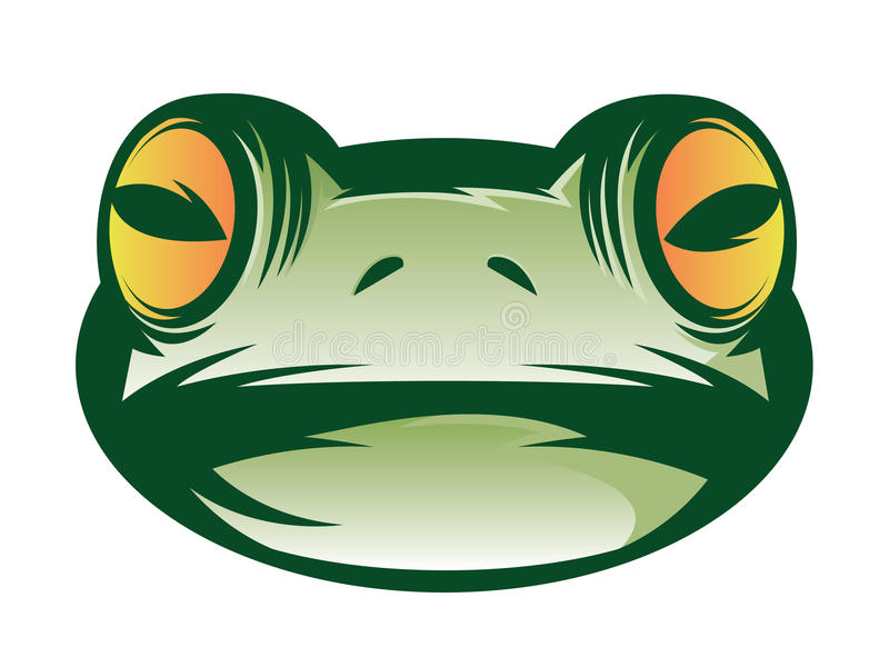 Frog Face. Illustration of a green frog face icon vector illustration