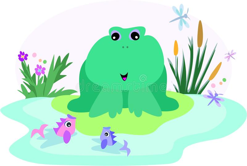 Download Frog in a Fish Pond stock vector. Image of fish, nature - 9546766