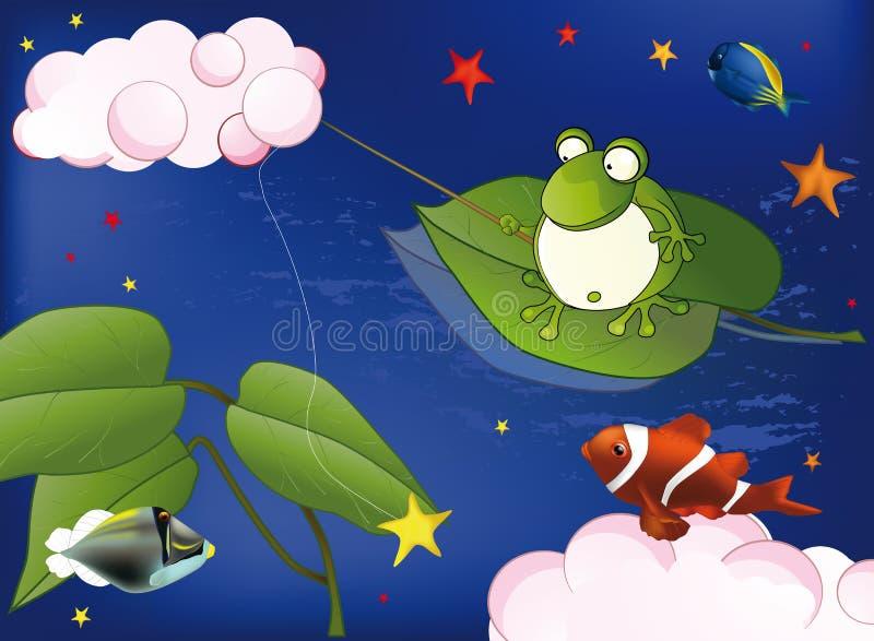 Download Frog on fishing stock vector. Image of frog, little, island - 12950251