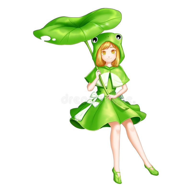Frog Girl with Anime and Cartoon Style. Video Game`s Digital CG Artwork, Concept Illustration, Realistic Cartoon Style Character Design royalty free illustration