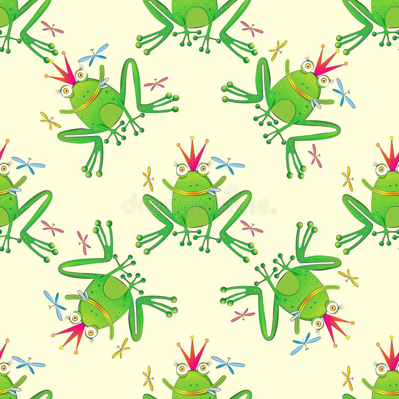 Frog Hand Drawn Seamless Pattern stock image