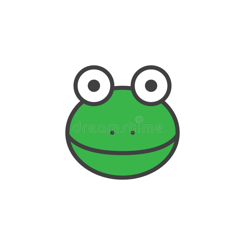 Frog head filled outline icon. Line vector sign, linear colorful pictogram isolated on white. Symbol, logo illustration. Pixel perfect vector graphics vector illustration