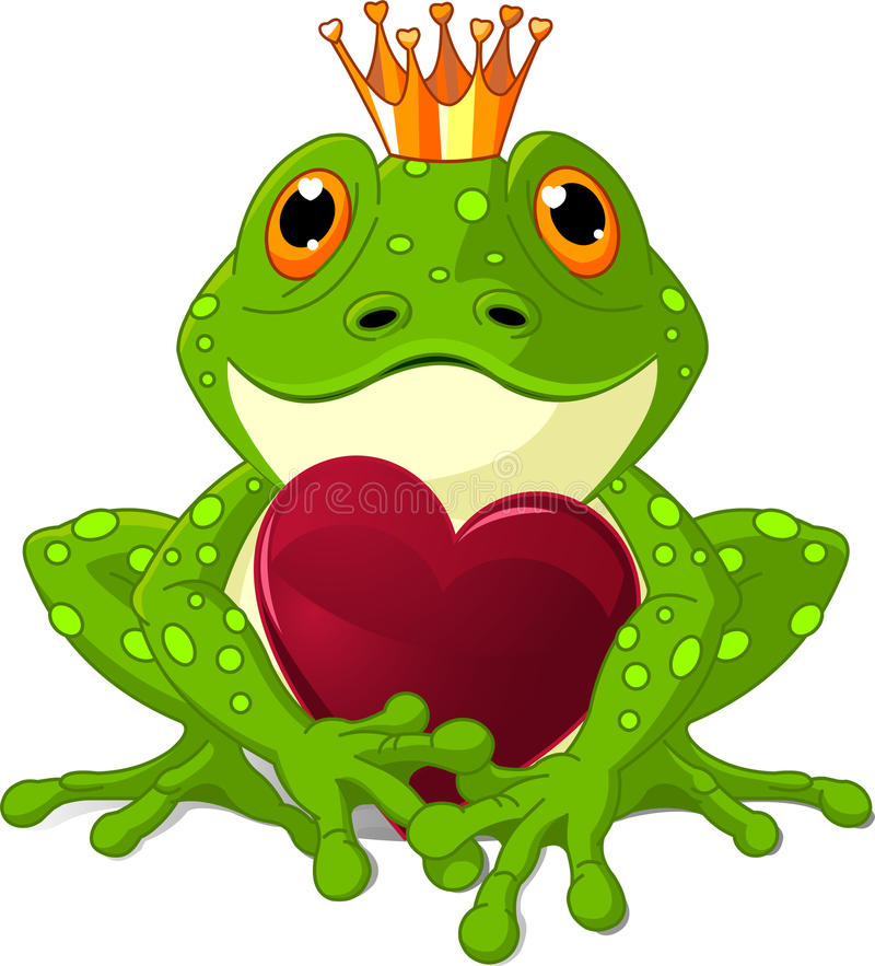 Frog with heart royalty free illustration