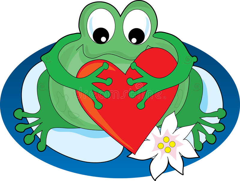 Frog with a Heart. Frog sitting on a lilypad holding a big heart royalty free illustration
