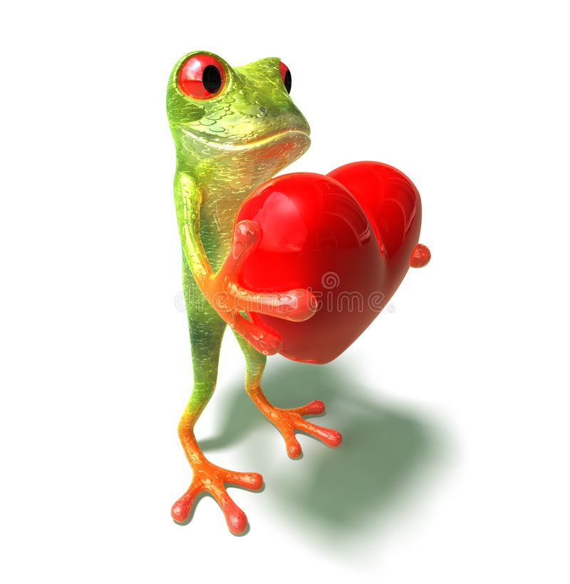 Download Frog with a heart stock illustration. Illustration of slimy - 3389959