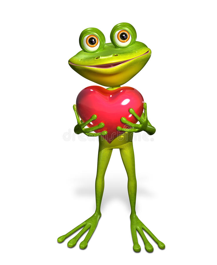 Frog With Heart Stock Illustration