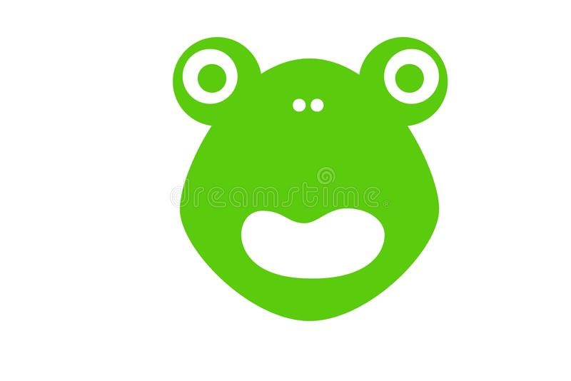 Frog icon logo on white background. Illustration design. Animal, symbol, pet, head, green, mood, looking, creative, element, art, closeup, cartoon, character stock image