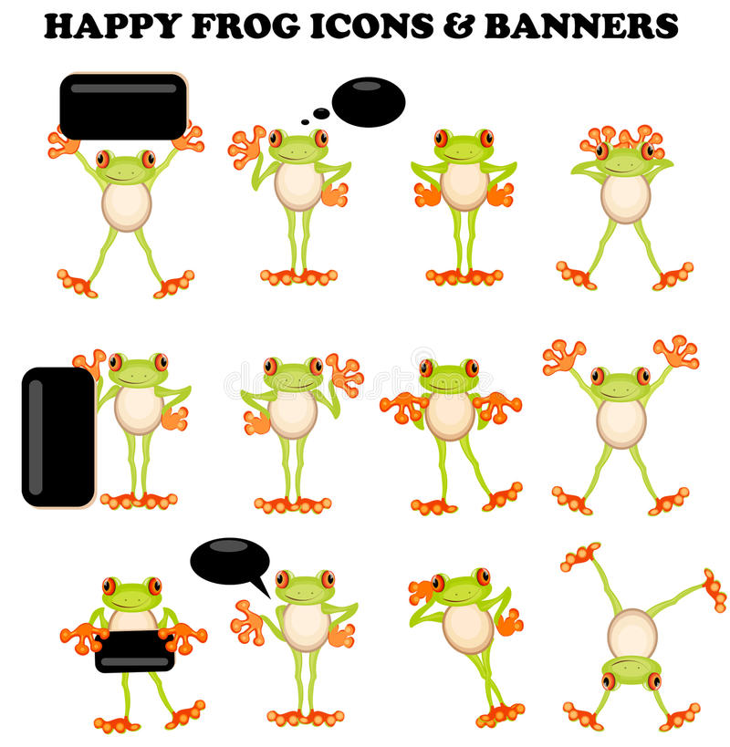 Frog icons with a blank sign. Active design elements banner speech bubble vector illustration