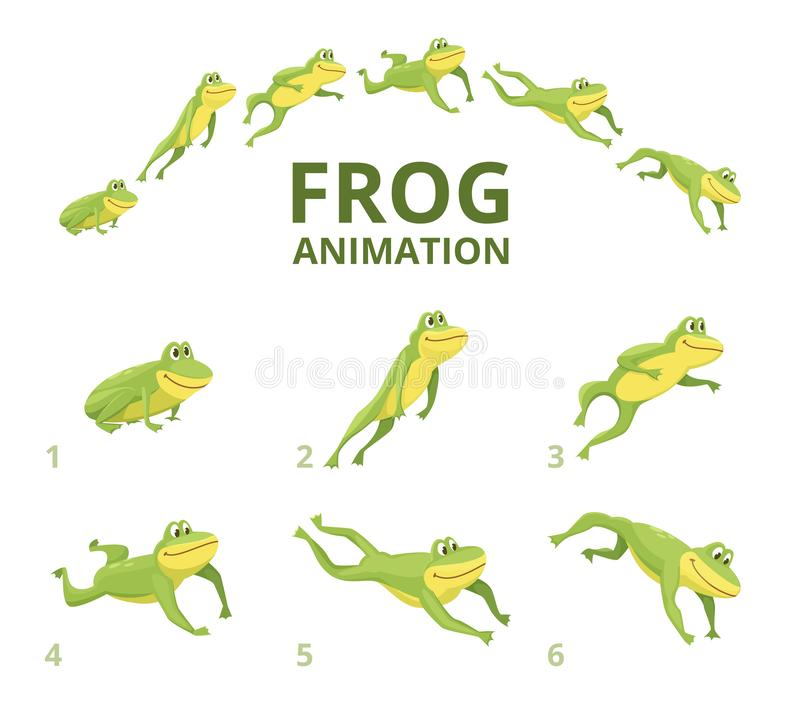 Frog jumping animation. Various keyframes for green animal vector illustration