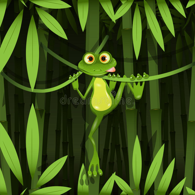 Frog in a jungle. Illustration curious frog on stem of the bamboo royalty free illustration