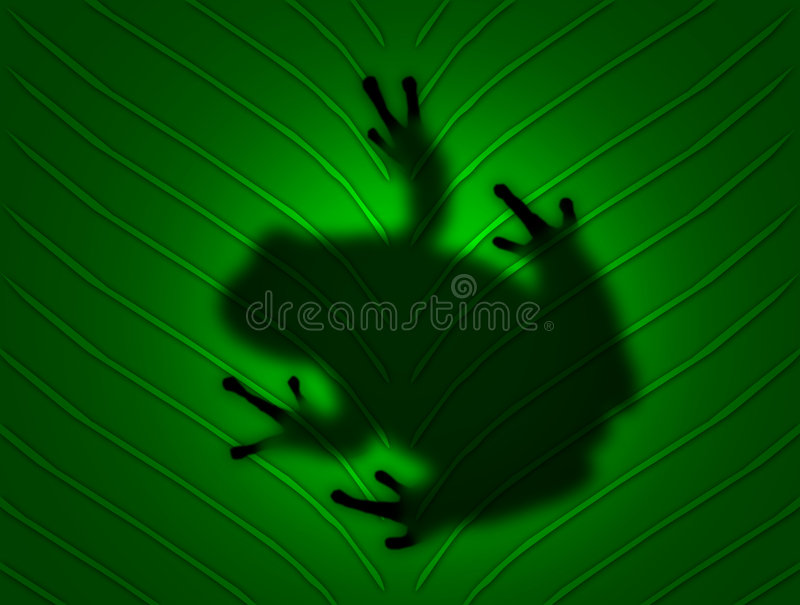 Frog on Leaf. Computer generated frog through a leaf royalty free stock photo