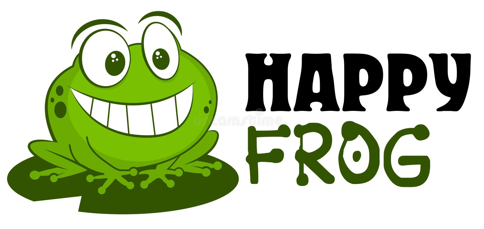 Frog logo mascot vector illustration. Cute funny cartoon hand drawn toad smiling isolated on white background and sitting on leaf. royalty free illustration