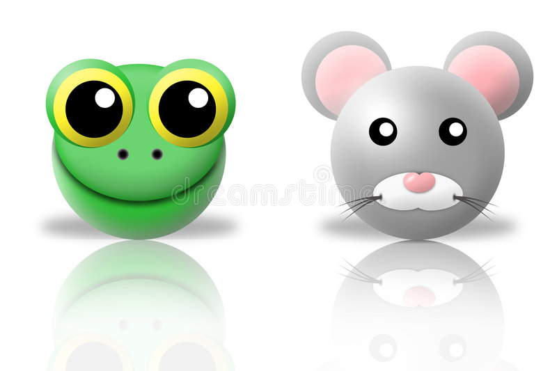Frog and mouse animals icons stock illustration