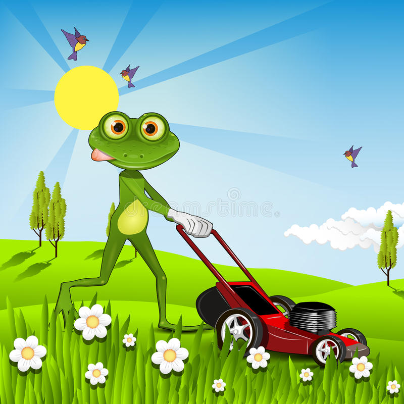 Frog mows the lawn. Illustration green frog with a lawn mower stock illustration