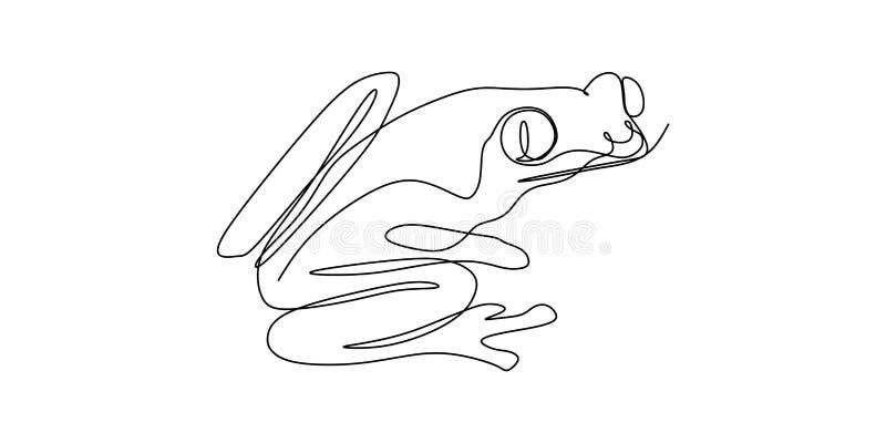 Frog one line art drawing vector illustration minimalist design stock illustration