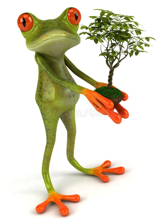 Download Frog with a plant stock illustration. Illustration of jump - 9786970