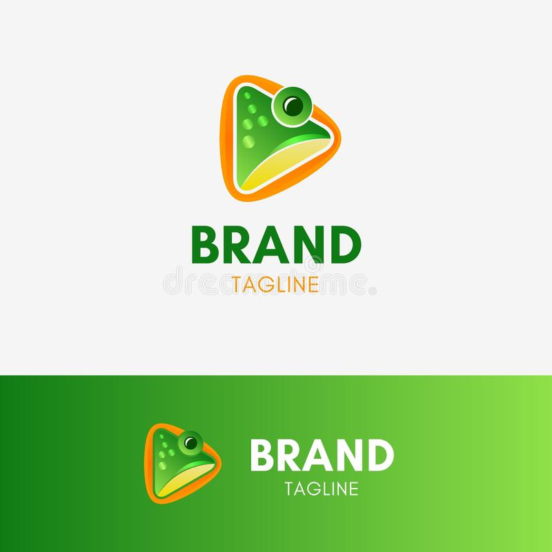 Frog Play Logo. Template element symbol with green shiny color stock illustration