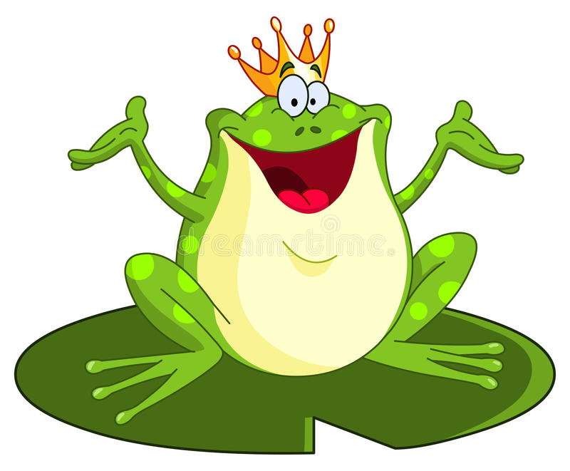 Frog prince. Illustration of frog prince raising his arms