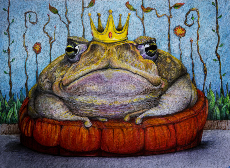 Frog prince with crown drawing royalty free stock photos