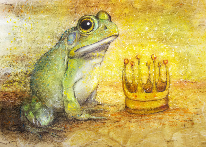 Frog prince with crown drawing stock illustration