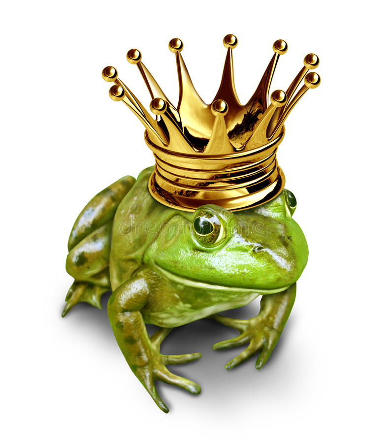Frog prince with gold crown stock illustration for Frog transformation