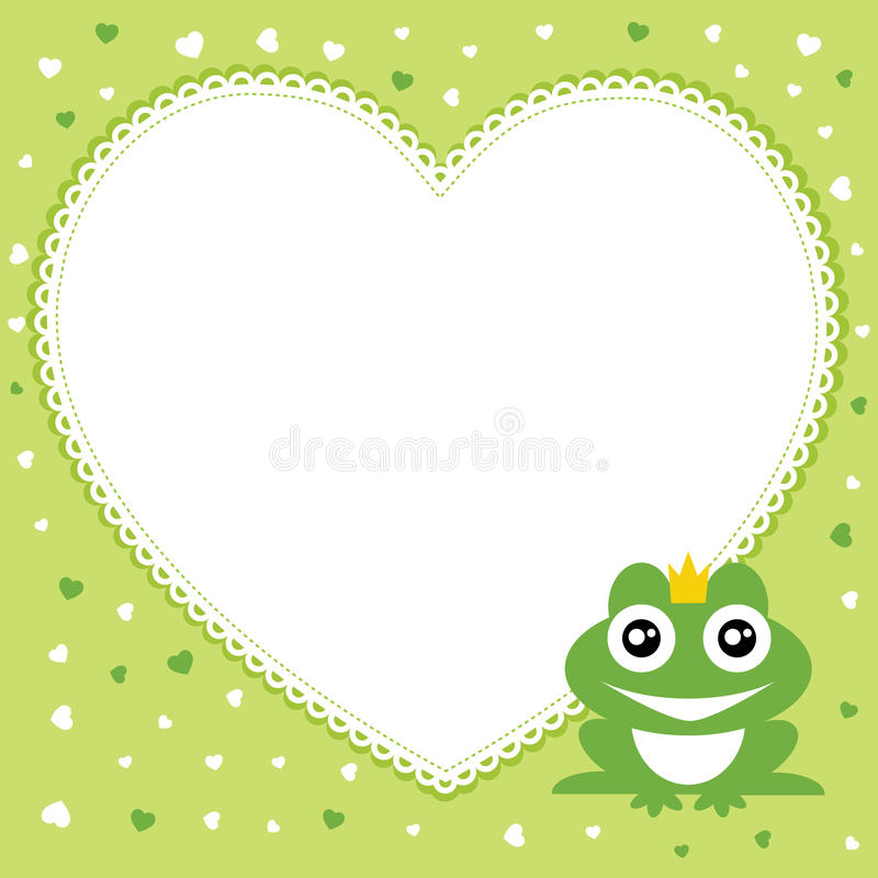 The frog prince with heart shape frame. stock illustration