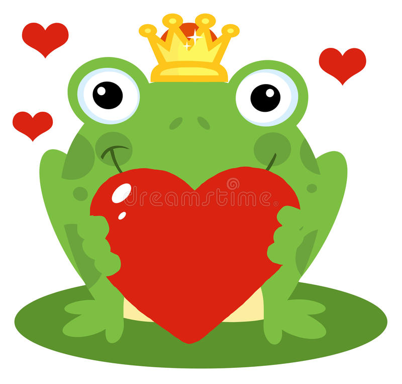 Frog prince holding a red heart stock illustration