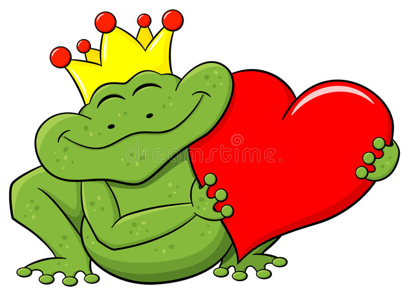 Frog prince holding a red heart royalty free illustration