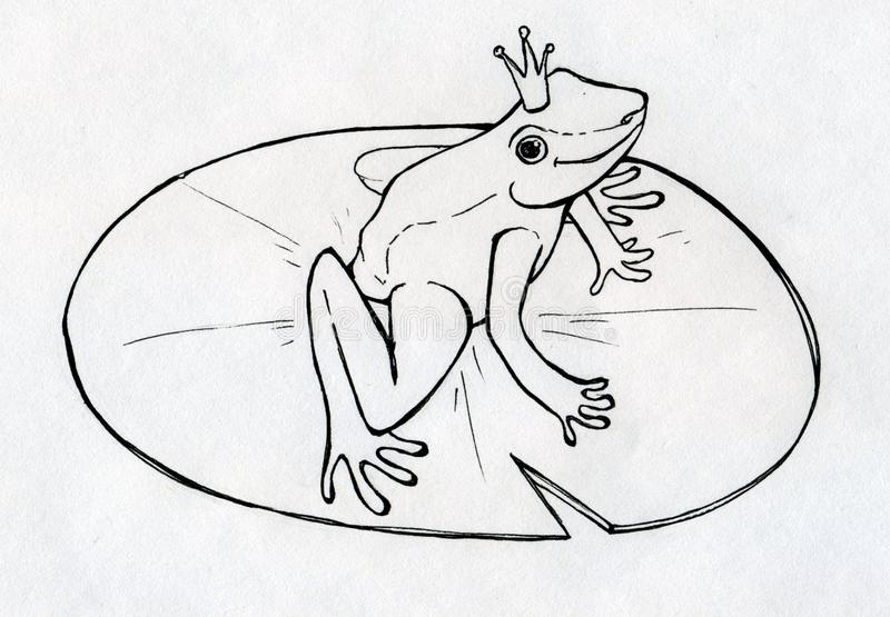 Frog prince. Ink drawn frog prince or princess with crown, seated on the lily leaf stock illustration