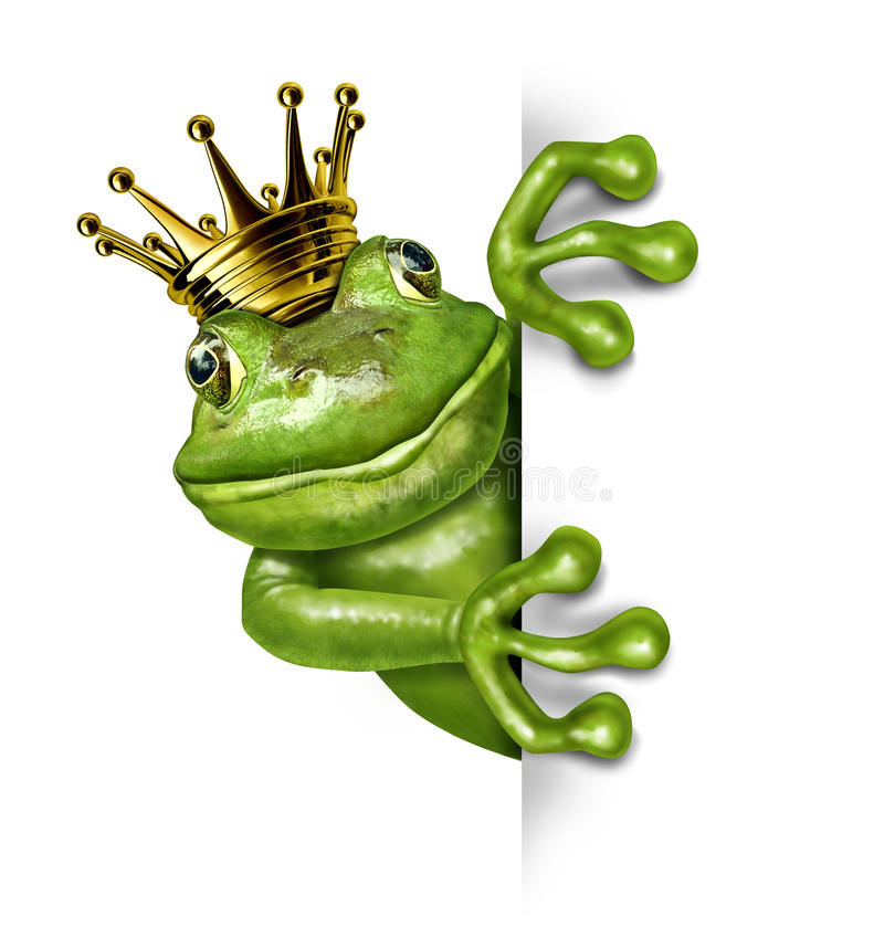 Free Frog Prince With Gold Crown Holding A Sign Royalty Free Stock Photos - 22633038
