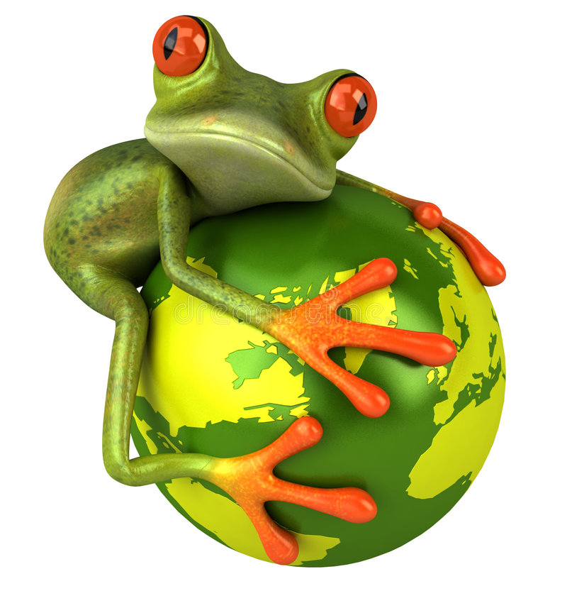 Frog protecting the earth vector illustration
