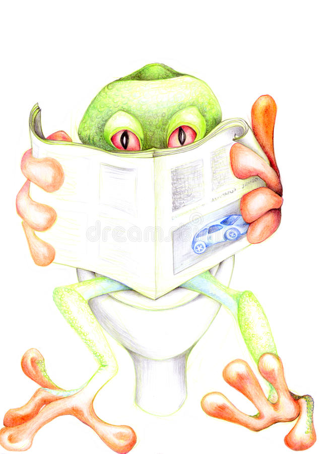 Frog relax 02. Handmade illustration of a funny frog with red eyes during relax vector illustration