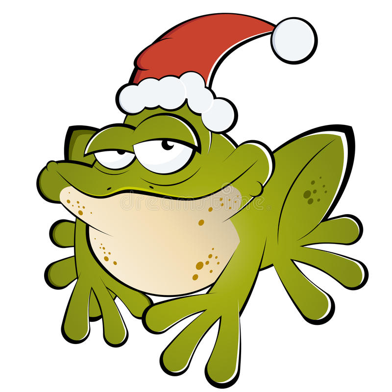 Frog with Santa hat. Illustration of cartoon frog with Santa hat, isolated on white background royalty free illustration