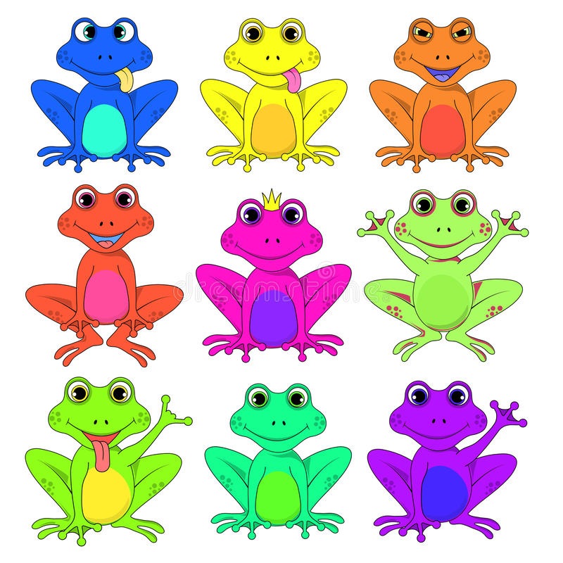 Frog a set of different flowers isolated vector EPS 10 royalty free illustration